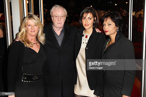 Actor Michael Caine and his daughters Nikki and Natasha and wife Shakira arrive at the UK film premiere of 'Sleuth' at the Odeon West End on November...