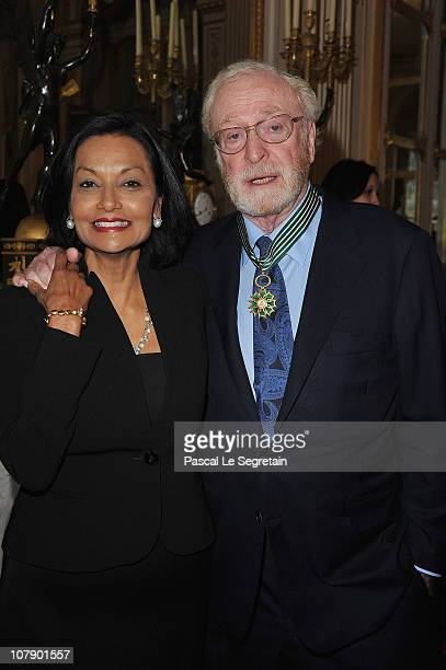 Actor Michael Caine poses with his wife Shakira after being awarded Commandeur des arts et des lettres by French Culture Minister Frederic Mitterrand...