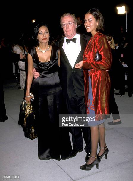 Actor Michael Caine, wife Shakira Caine and daughter Natasha Caine attend Fifth Annual Vanity Fair Oscar Party on March 23, 1998 at Morton's...