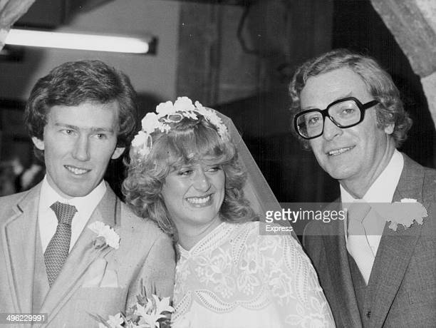 Actor Michael Caine with his daughter Dominique as she marries jockey Rowland Fernyhough Warfield Buckinghamshire November 7th 1981