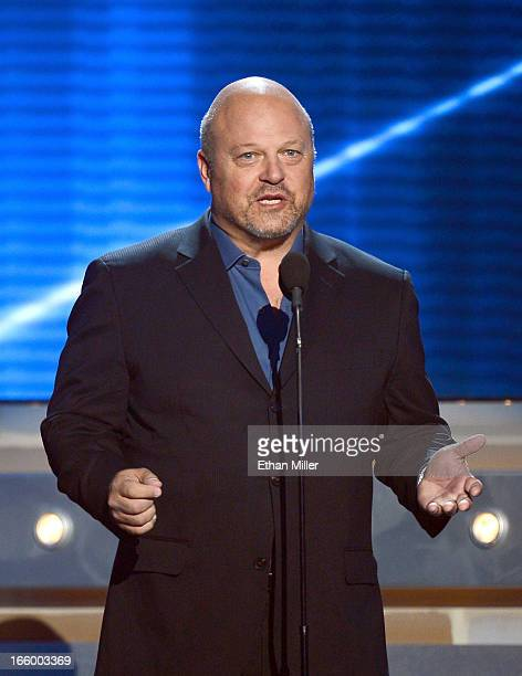 Actor Michael Chiklis speaks onstage during the 48th Annual Academy of Country Music Awards at the MGM Grand Garden Arena on April 7 2013 in Las...