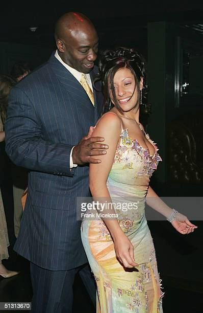 Actor Michael Clark Duncan and Irene Marquez dancing at the official after party for the 2004 World Music Awards September 15 2005 at Body English in...