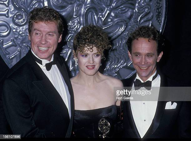 Actor Michael Crawford actress Bernadette Peters and actor Joel Grey attend 42nd Annual Tony Awards at the Minskoff Theater on June 5 1988 in New...