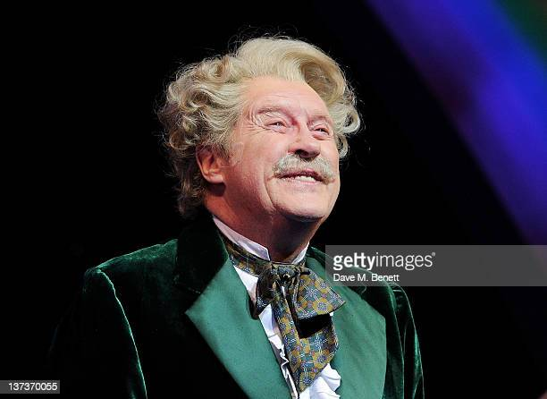 Actor Michael Crawford celebrates his 70th birthday onstage following a performance of 'The Wizard Of Oz' at the London Palladium on January 19 2012...