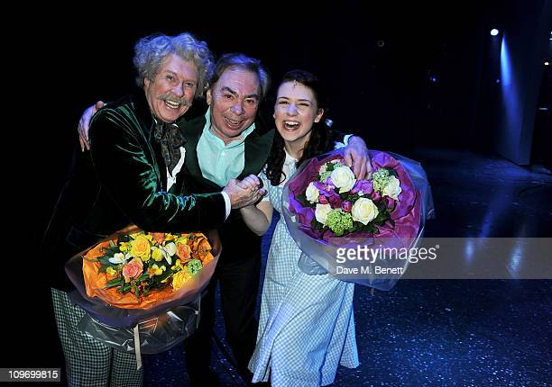 Actor Michael Crawford Lord Andrew Lloyd Webber and actress Danielle Hope pose backstage during press night of Andrew Lloyd Webber's new West End...