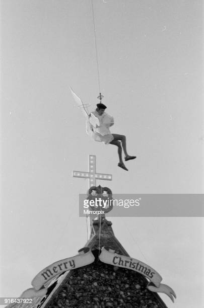 Actor Michael Crawford pictured during filming of a Christmas special of the BBC television comedy show 'Some Mothers Do Ave Em' Michael is pulled...