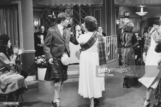 Actor Michael Crawford wearing a kilt during a dance scene from episode 'Scottish Dancing' of the television sitcom 'Some Mothers Do 'Ave 'Em',...