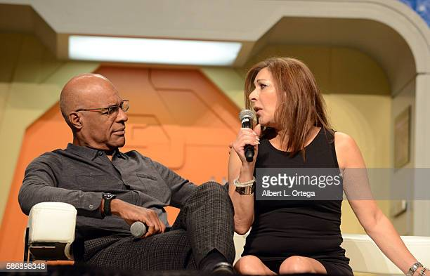 Actor Michael Dorn and actress Marina Sirtis on day 4 of Creation Entertainment's Official Star Trek 50th Anniversary Convention at the Rio Hotel...