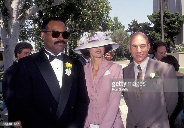 Actor Michael Dorn and guest and actor Patrick Stewart attend the Wedding of Marina Sirtis and Michael Lamper on June 21, 1992 at St. Sophia...