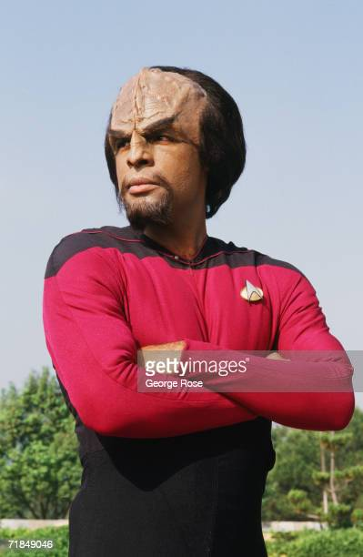 Actor Michael Dorn who plays Lt Worf in the TV show 'Star TrekThe Next Generation is seen in full makeup during a 1987 Los Angeles California photo...