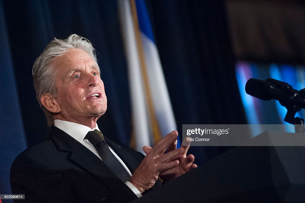 Actor Michael Douglas accepts the inaugural Teddy Kollek Award for the Advancement of Jewish Culture on behalf of his father Kirk Douglas during the 2016 World Jewish Congress Herzl Award Dinner at The Pierre Hotel on November 9, 2016 in New York City.