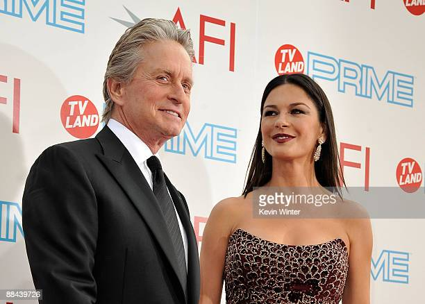 Actor Michael Douglas and actress Catherine ZetaJones arrive at the AFI Life Achievement Awards A Tribute to Michael Douglas at Sony Pictures Studios...