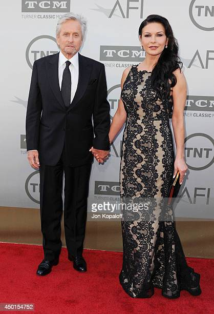 Actor Michael Douglas and actress Catherine ZetaJones arrives at the 2014 AFI Life Achievement Award Gala Tribute at Dolby Theatre on June 5 2014 in...