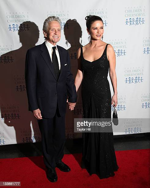 Actor Michael Douglas and actress Catherine ZetaJones attend the 2011 Children of Chernobyl's Children at Heart gala at the Chelsea Piers on November...