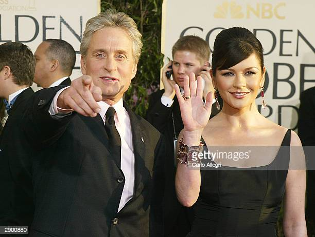 Actor Michael Douglas and Actress Catherine ZetaJones attend the 61st Annual Golden Globe Awards at the Beverly Hilton Hotel on January 25 2004 in...