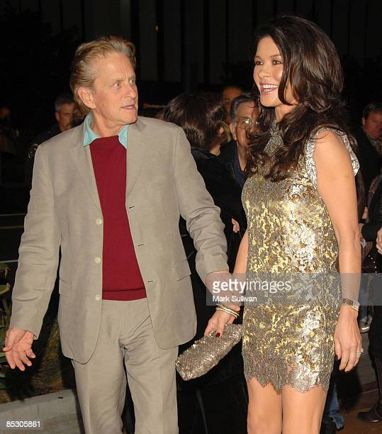 Actor Michael Douglas and actress Catherine ZetaJones attend the premiere of Kirk Douglas' one man show 'Before I Forget' at the Kirk Douglas Theatre...