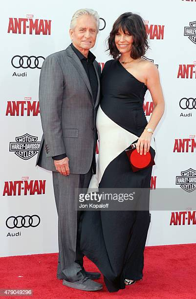 Actor Michael Douglas and actress Evangeline Lilly arrive at the Los Angeles Premiere 'AntMan' at Dolby Theatre on June 29 2015 in Hollywood...