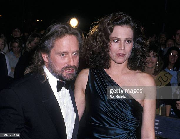 Actor Michael Douglas and actress Sigourney Weaver attend the 'Gorillas in the Mist' New York City Premiere on September 14 1998 at the Beekman...