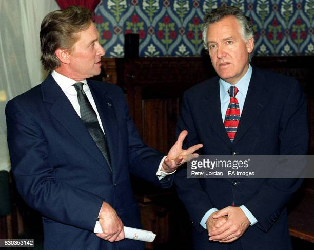Actor Michael Douglas and Foreign Office Minister Peter Hain in the Jubilee Room at the House of Commons where Douglas warned that Britain should...