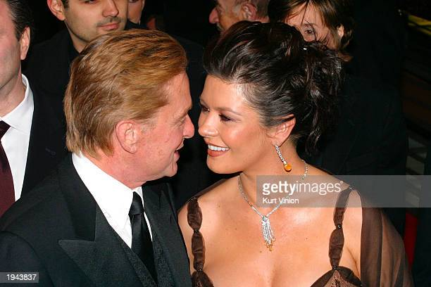 Actor Michael Douglas and his wife actress Catherine ZetaJones attend the 53rd Berlinale International Film Festival February 6 2003 in Berlin...