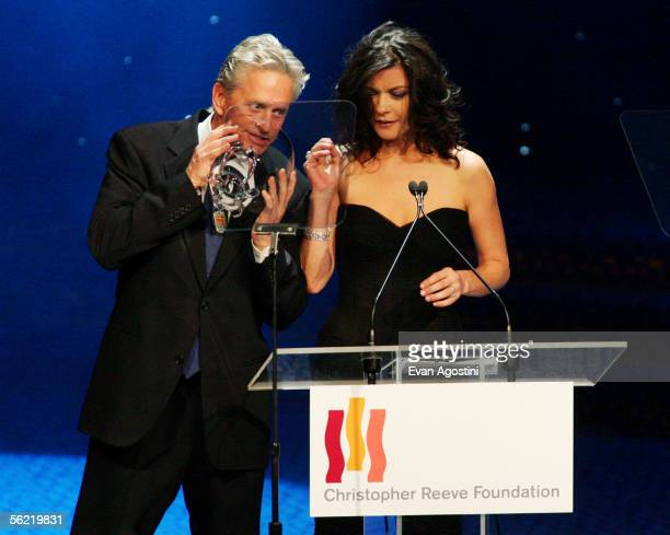 Actor Michael Douglas and wife actress Catherine Zeta-Jones makes acceptance remarks after being honored with the Christopher Reeve Spirit of Courage...