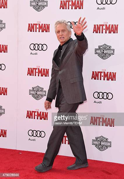 Actor Michael Douglas arrives at the Los Angeles Premiere of Marvel Studios 'AntMan' at Dolby Theatre on June 29 2015 in Hollywood California
