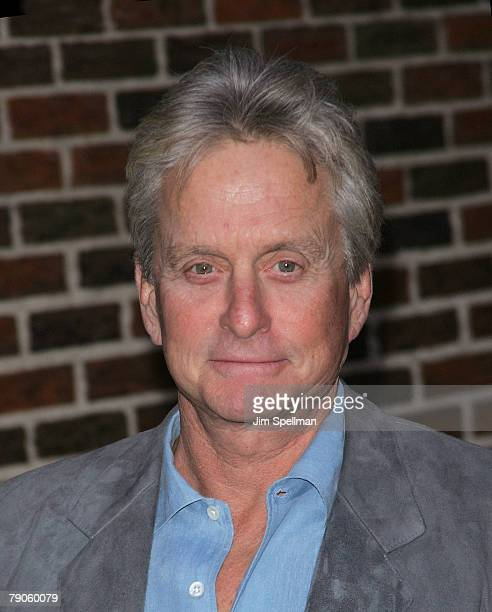 Actor Michael Douglas arrives at the The Late Show with David Letterman at the Ed Sullivan Theater on January 16 2008 in New York City