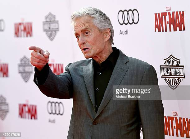 Actor Michael Douglas attends Audi celebrates the world premiere of 'AntMan' at The Dolby Theatre on June 29 2015 in Los Angeles California