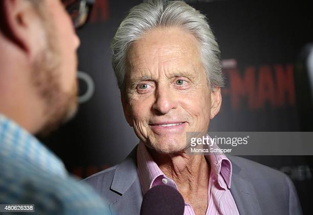 Actor Michael Douglas attends The Cinema Society and Audi host a screening of Marvel's 'AntMan' at SVA Theatre on July 13 2015 in New York City