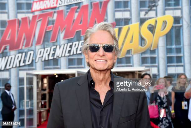 Actor Michael Douglas attends the Los Angeles Global Premiere for Marvel Studios' AntMan And The Wasp at the El Capitan Theatre on June 25 2018 in...
