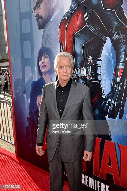 Actor Michael Douglas attends the premiere of Marvel's AntMan at the Dolby Theatre on June 29 2015 in Hollywood California
