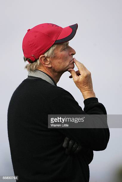 Actor Michael Douglas considers his next shot at the 16th hole during the second round of the Dunhill Links Championships on the Old Course September...