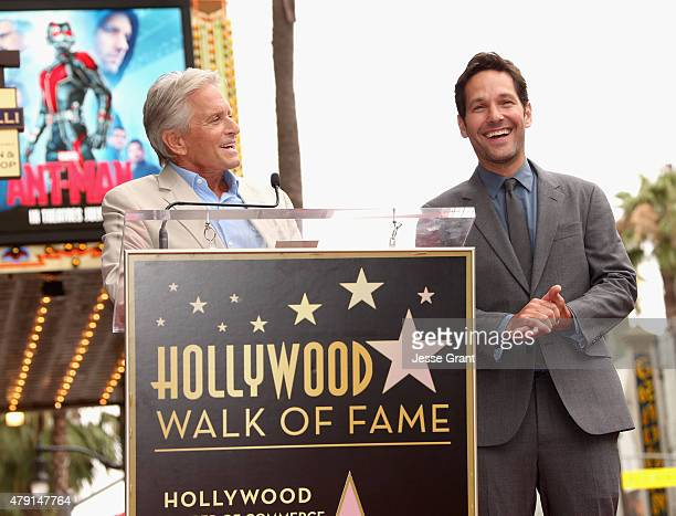 Actor Michael Douglas honors actor Paul Rudd with a Star on The Hollywood Walk of Fame on July 1 2015 in Hollywood California