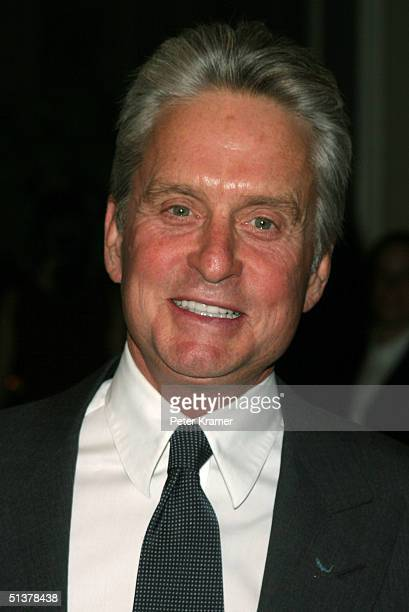 Actor Michael Douglas makes an appearance at The Waldorf Astoria for the United Nations Association Global Leadership Awards Dinner September 30 2004...