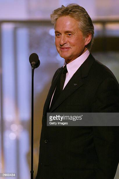 Actor Michael Douglas on stage at the 61st Annual Golden Globe Awards at the Beverly Hilton Hotel on January 25 2004 in Beverly Hills California