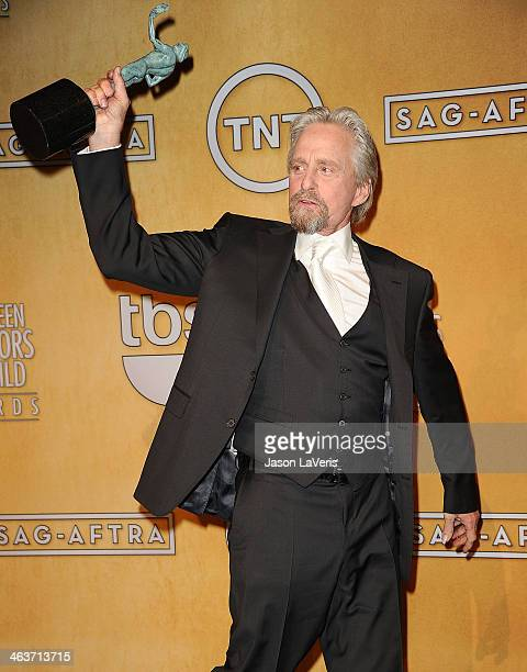 Actor Michael Douglas poses in the press room at the 20th annual Screen Actors Guild Awards at The Shrine Auditorium on January 18 2014 in Los...