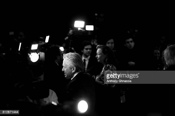 Actor Michael Douglas poses with his Honour Cesar Award during The Cesar Film Awards 2016 at Theatre du Chatelet on February 26 2016 in Paris France