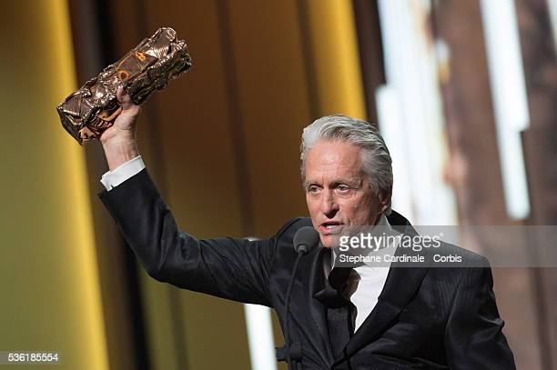 Actor Michael Douglas receives an honour Cesar award during The Cesar Film Award 2016 at Theatre du Chatelet on February 26 2016 in Paris France