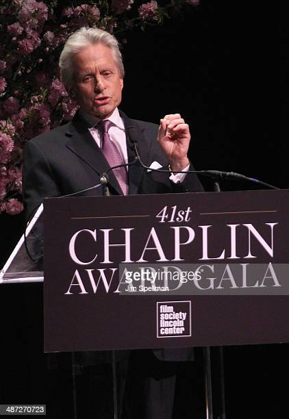Actor Michael Douglas speaks onstage at the 41st Annual Chaplin Award Gala at Avery Fisher Hall at Lincoln Center for the Performing Arts on April 28...