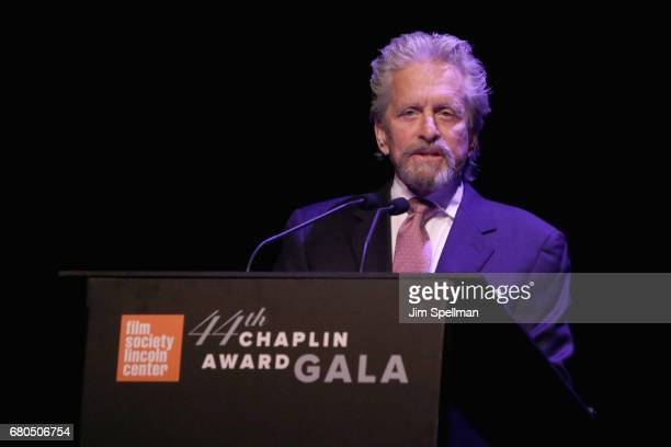 Actor Michael Douglas speaks onstage during the 44th Chaplin Award Gala at David H Koch Theater at Lincoln Center on May 8 2017 in New York City