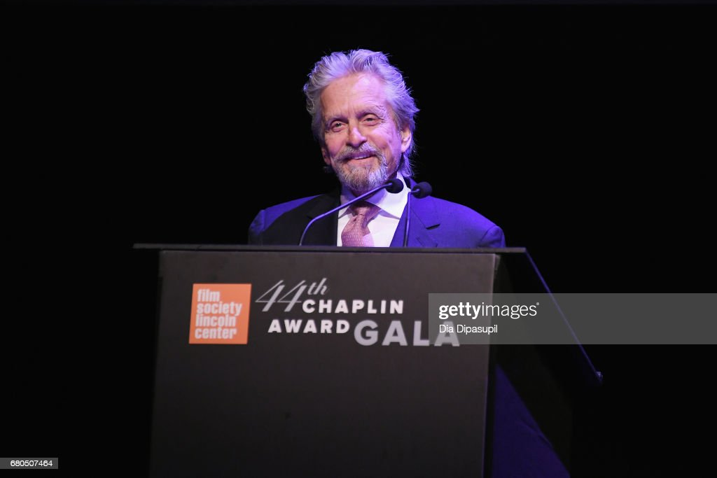Actor Michael Douglas speaks onstage during the 44th Chaplin Award Gala at David H. Koch Theater at Lincoln Center on May 8, 2017 in New York City.