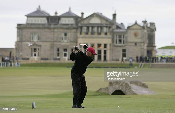 Actor Michael Douglas tees off on the 18th hole during the second round of the Dunhill Links Championships on the Old Course September 30 2005 in St...