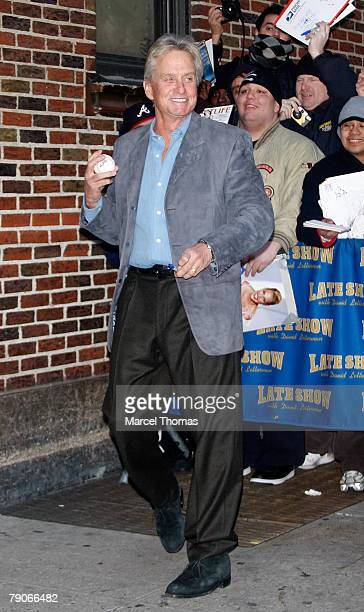 Actor Michael Douglas visits 'Late Show With David Letterman' at the Ed Sullivan theater on January 16 2008 in New YorkCity New York