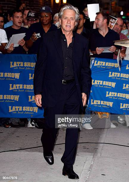 Actor Michael Douglas visits Late Show with David Letterman at the Ed Sullivan Theater on September 8 2009 in New York City