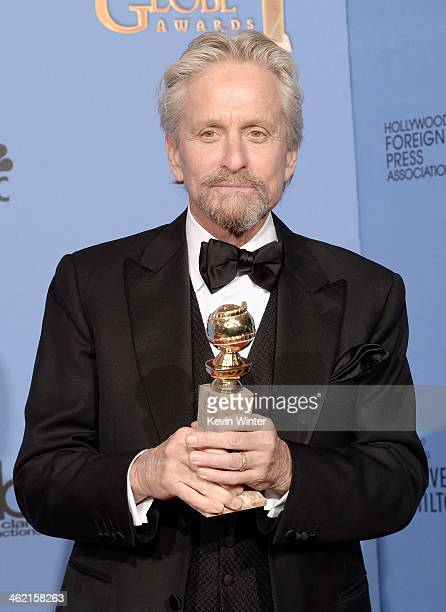 Actor Michael Douglas winner of Best Actor in a Miniseries or Television Film for 'Behind the Candelabra' poses in the press room during the 71st...