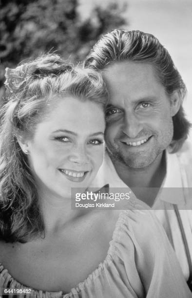 Actor Michael Douglas with actress Kathleen Turner and from the 1984 motion picture Romancing the Stone