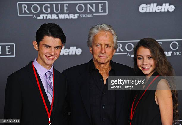 Actor Michael Douglas with son Dylan Douglas and daughter Carys Zeta Douglas arrive for the Premiere Of Walt Disney Pictures And Lucasfilm's Rogue...