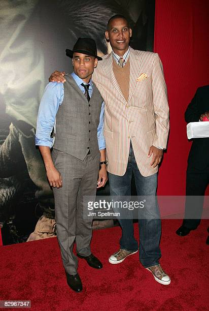 Actor Michael Ealy and Basketball Player Reggie Miller attends the premiere of Miracle at St Anna at Ziegfeld Theatre on September 22 2008 in New...