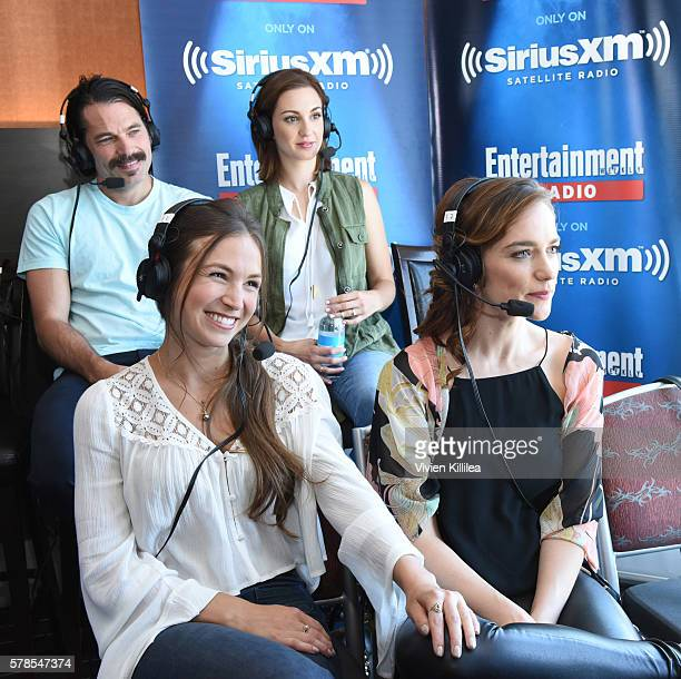 Actor Michael Eklund and actresses Katherine Barrell Dominique ProvostChalkley and Melanie Scrofano attend SiriusXM's Entertainment Weekly Radio...