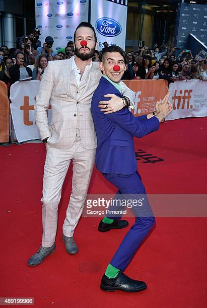 "Actor Michael Eklund and screenwriter Max Landis attends the ""Mr. Right"" premiere during the Toronto International Film Festival at Roy Thomson Hall..."